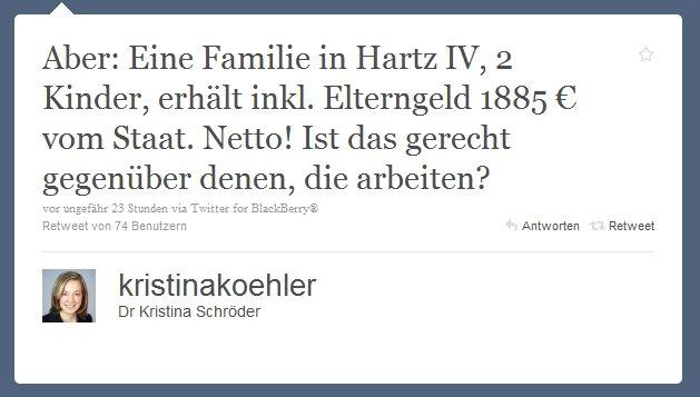 Aber: Eine Familie in Hartz IV, 2 Kinder, erhält inkl. Elterngeld 1885 € vom Staat. Netto! Ist das gerecht gegenüber denen, die arbeiten?