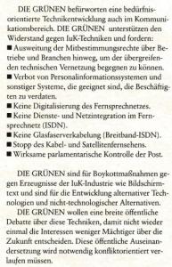 Ausschnitt aus dem Wahlprogramm der GRÜNEN 1987