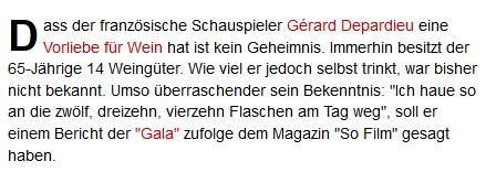 Gérard Depardieu trinkt Wein. Aha.