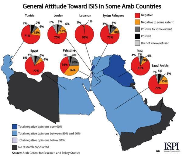 Unterstützung des IS in der arabischen Welt, Quelle: ISPI - Istituto per gli studi di politica internazionale