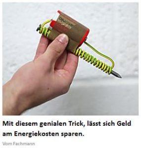 Energiekosten sparen durch komisches Text-Bild-Schere